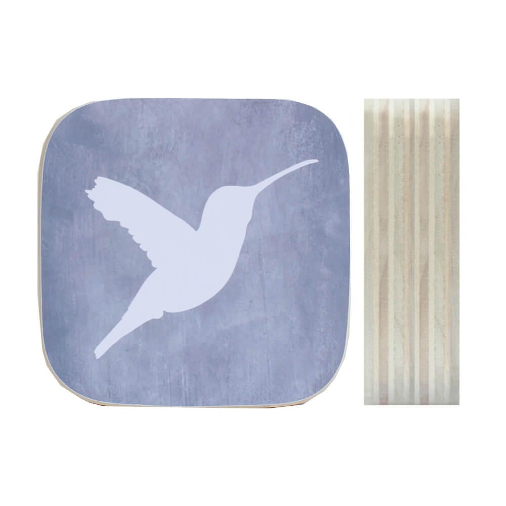 Dots Lifestyle hout print Kolibrie grijs