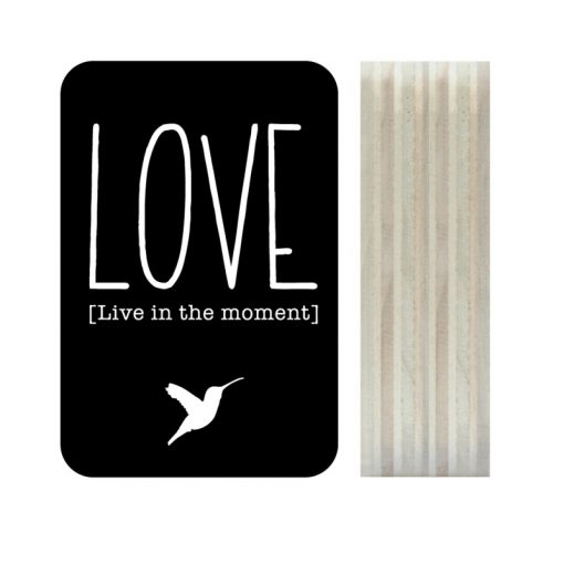 Dots Lifestyle hout print Love zwart
