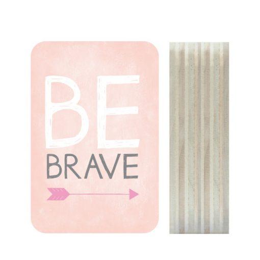 Dots Lifestyle hout print Be Brave roze