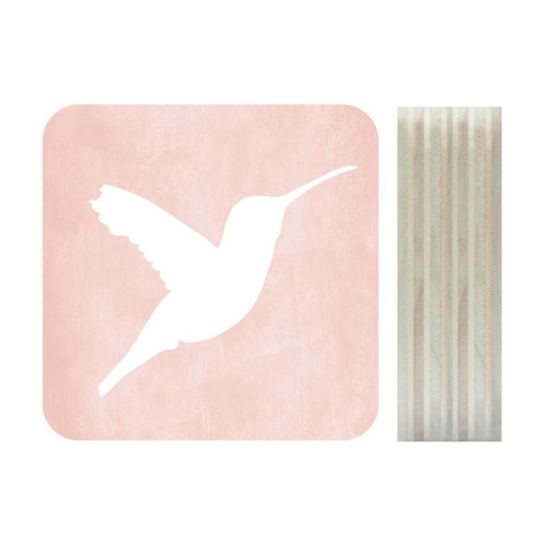 Dots Lifestyle hout print Kolibrie roze