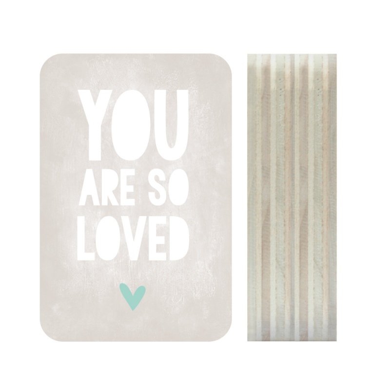 Dots Lifestyle hout print You are so loved grijs