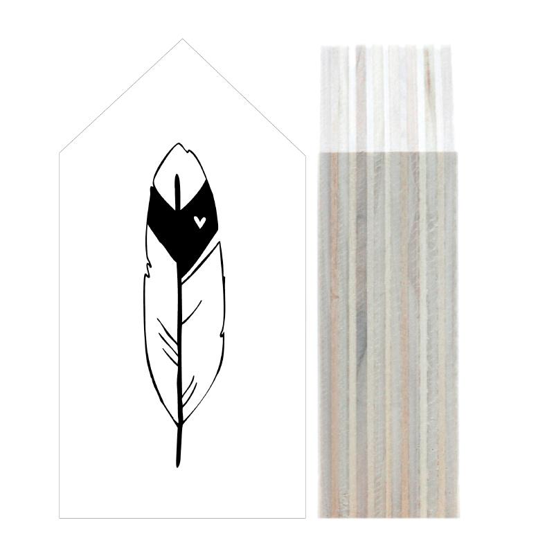 Dots Lifestyle houten huisje met veer wit