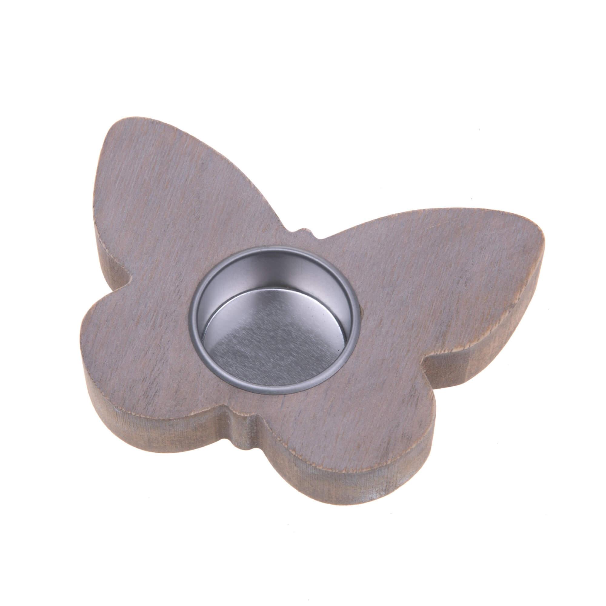 Waxinelichthouder hout vlinder taupe