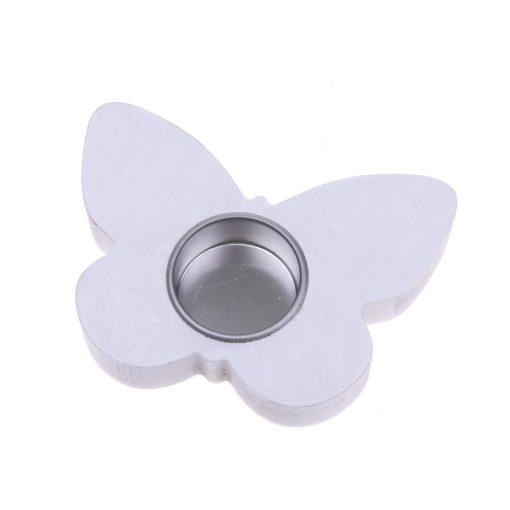 Waxinelichthouder hout vlinder wit