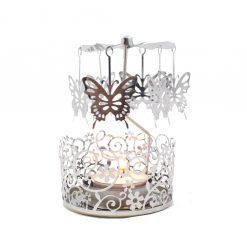 Waxinelicht houder draaiende vlinders groot